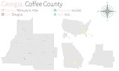 Large and detailed map of Coffee county in Georgia, USA.