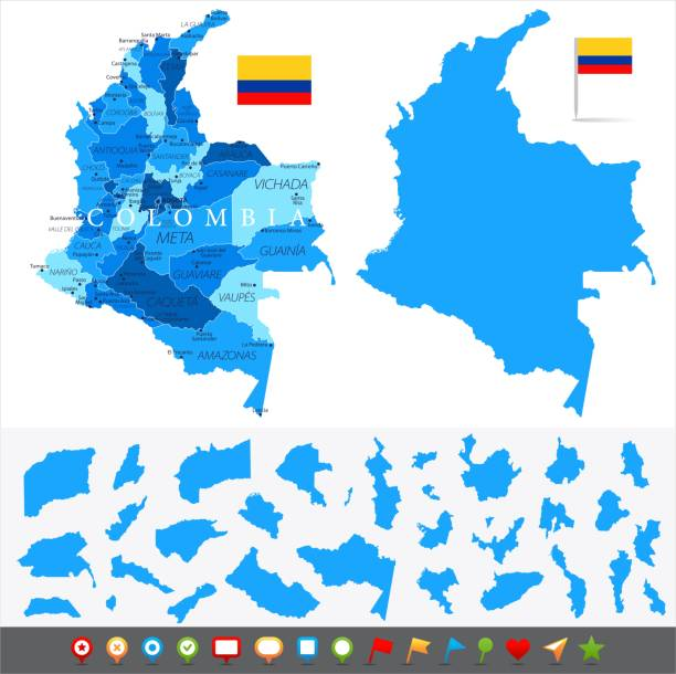 karte von kolumbien - infografik vektor - bucaramanga stock-grafiken, -clipart, -cartoons und -symbole
