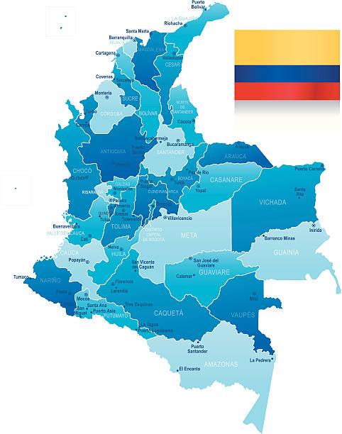 karte von kolumbien-staaten, städte und flagge - cartagena stock-grafiken, -clipart, -cartoons und -symbole