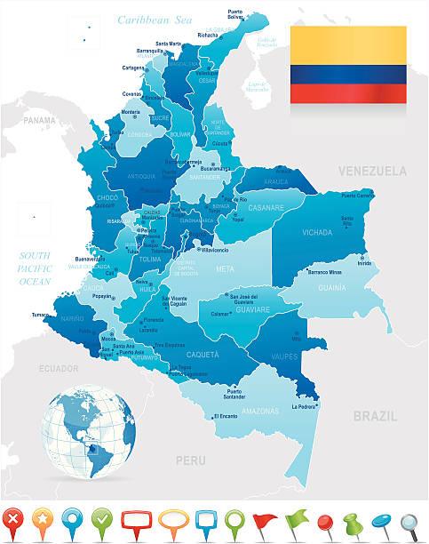 karte von kolumbien-staaten, städte, flagge und navigation symbole - bucaramanga stock-grafiken, -clipart, -cartoons und -symbole