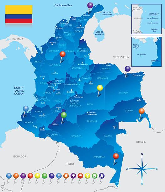 karte von kolumbien - cartagena stock-grafiken, -clipart, -cartoons und -symbole