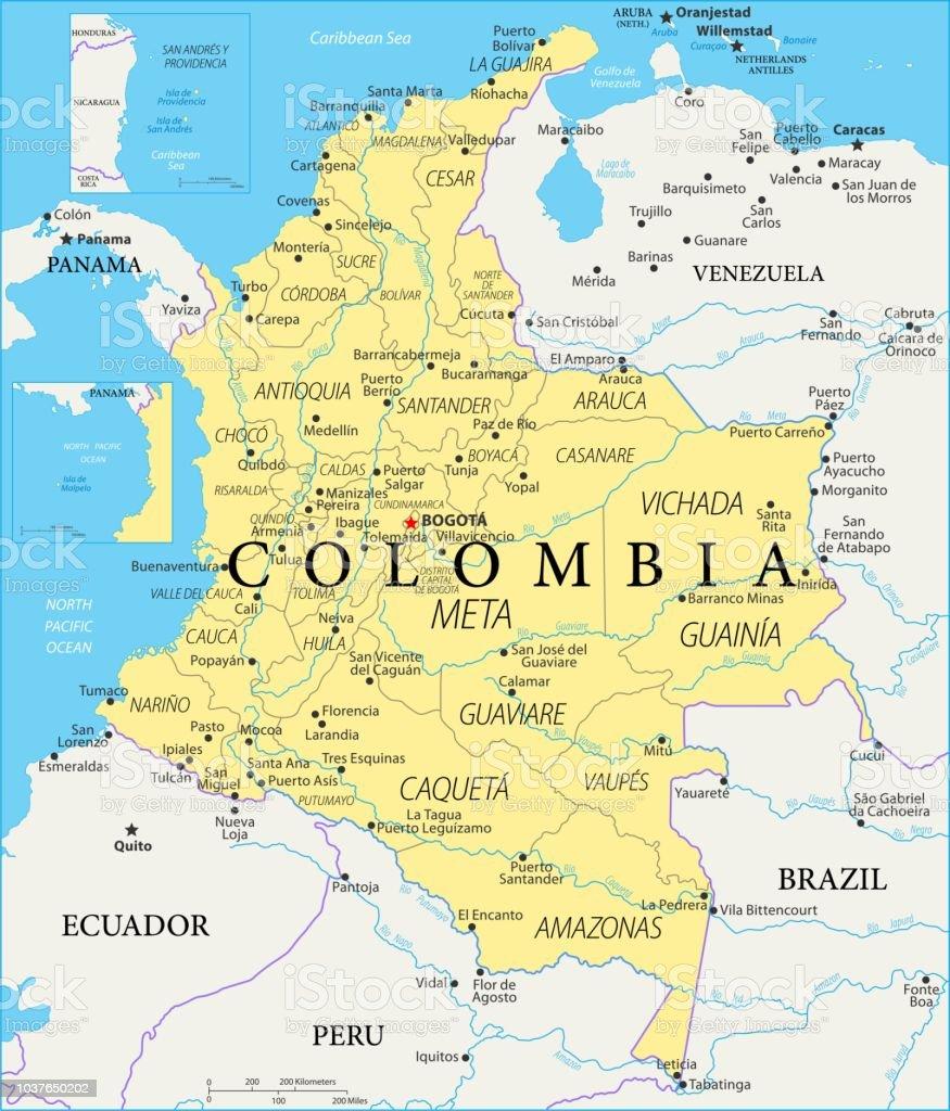 kolumbien karte Karte Von Kolumbien Vektor Stock Vektor Art und mehr Bilder von