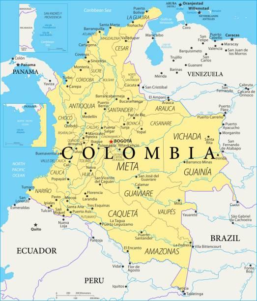 karte von kolumbien - vektor - cartagena stock-grafiken, -clipart, -cartoons und -symbole