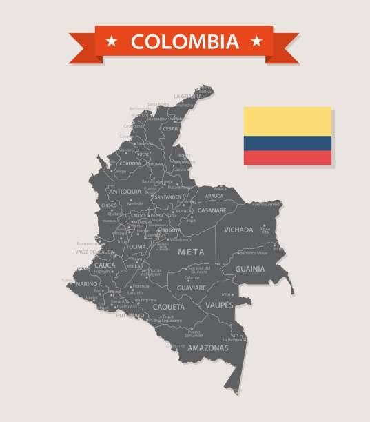 karte von kolumbien - vintage flache vektor - bucaramanga stock-grafiken, -clipart, -cartoons und -symbole