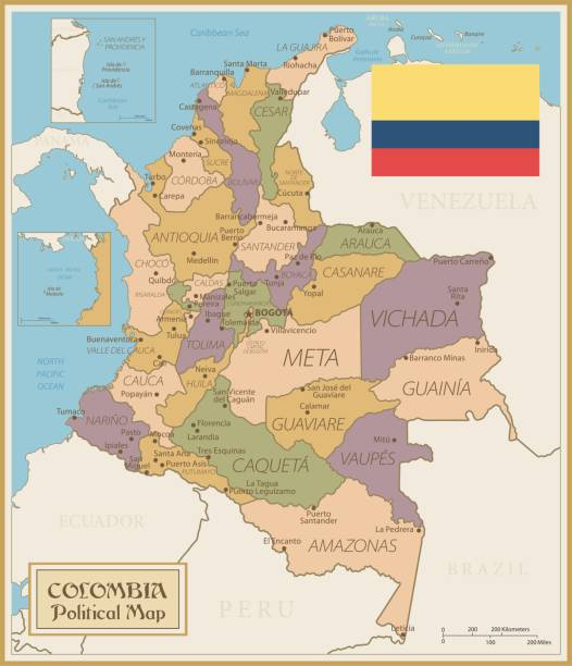 karte von kolumbien - vintage vector - bucaramanga stock-grafiken, -clipart, -cartoons und -symbole