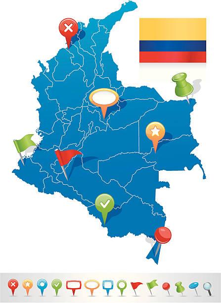 karte von kolumbien mit navigation symbole - bucaramanga stock-grafiken, -clipart, -cartoons und -symbole