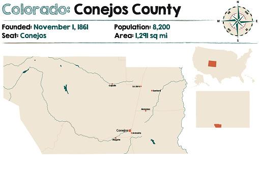 Map of Conejos County in Colorado