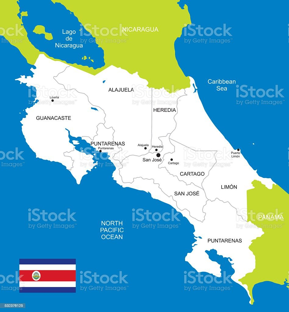 Map Of Costa Rica Stock Illustration - Download Image Now ...