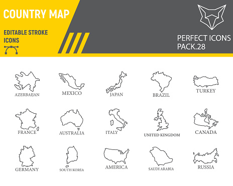 Map of country line icon set, country collection, vector sketches, logo illustrations, map countries icons, travel signs linear pictograms, editable stroke.