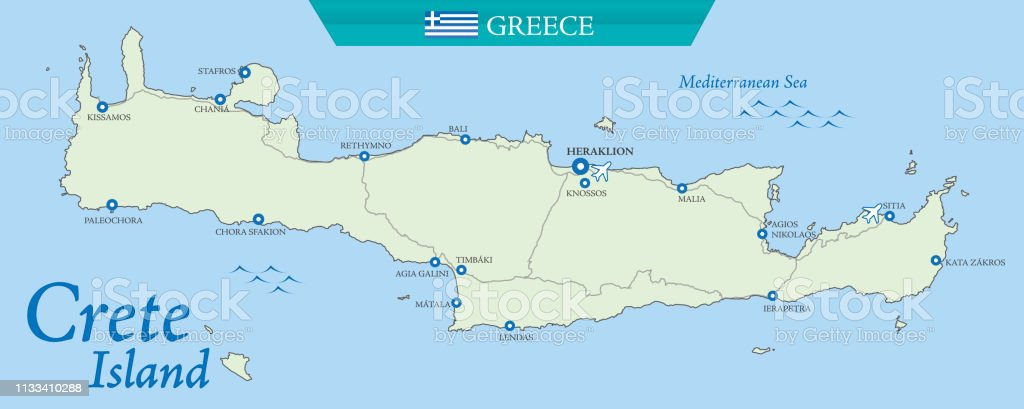 Map Of Crete Greek Island Stock Illustration Download