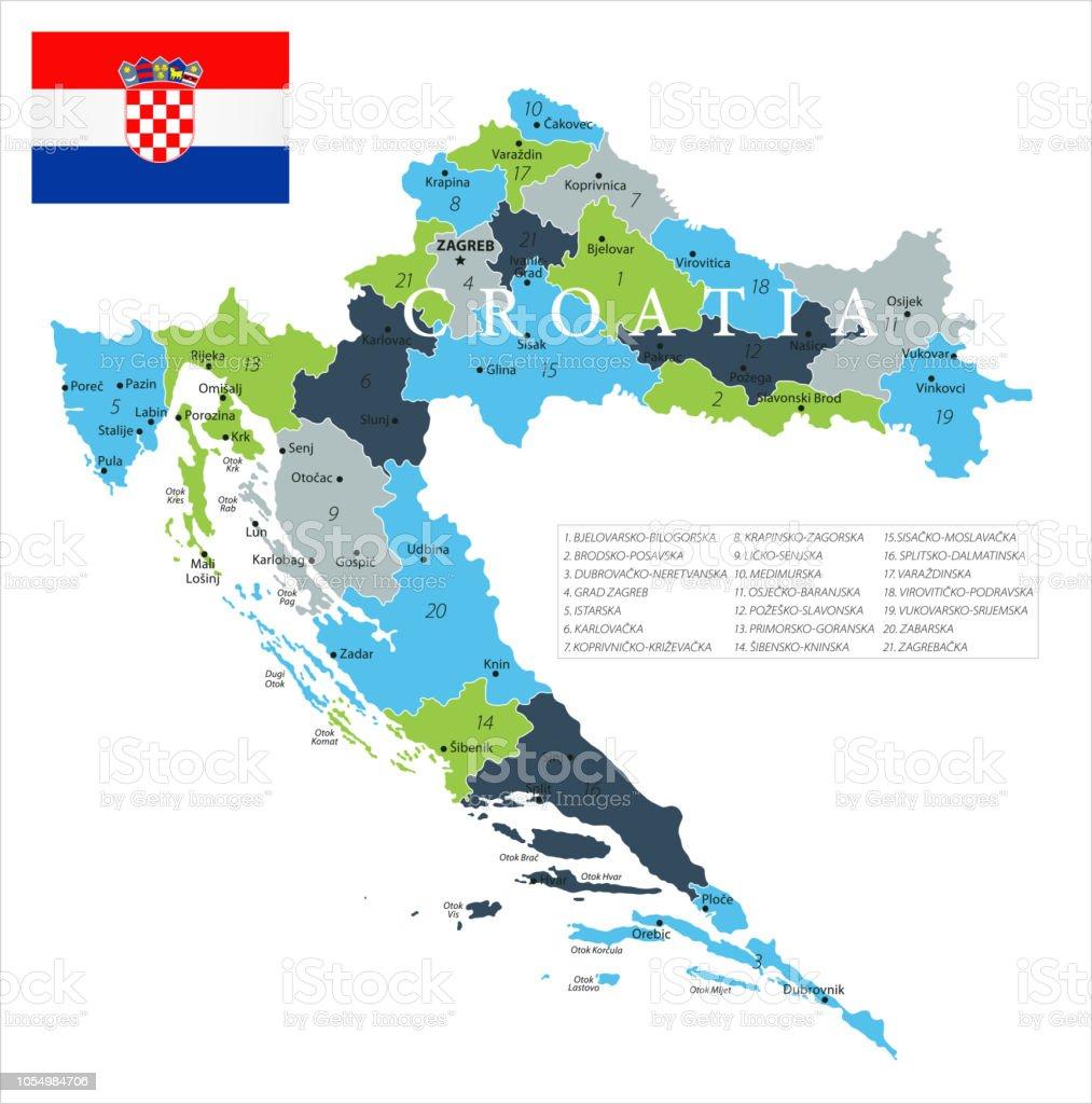 Karte Kroatien Pula.Karte Von Kroatien Vektor Stock Vektor Art Und Mehr Bilder Von Blau
