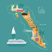 Map of Cuba vector illustration, design. Icons with Cuban landmarks, woman, cigars. Explore Cuba concept image