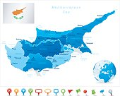 Highly detailed vector map of Cyprus with states, capitals and big cities.