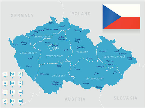 stockillustraties, clipart, cartoons en iconen met map of czech republic - states, cities, flag, navigation icons - tsjechië