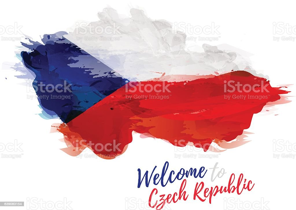 Map of Czech Republic with the decoration of national flag. vector art illustration