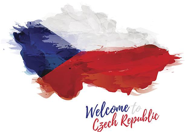 map of czech republic with the decoration of national flag. - republika czeska stock illustrations