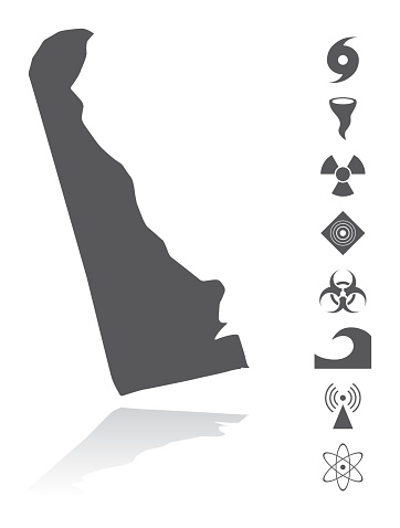Map of Delaware Disaster Icons Set