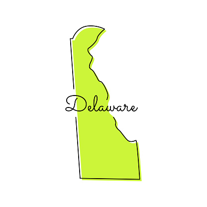 Map of Delaware - State of US Vector Illustration Design Template.