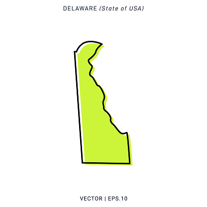 Map of Delaware Vector Stock Illustration Design Template.
