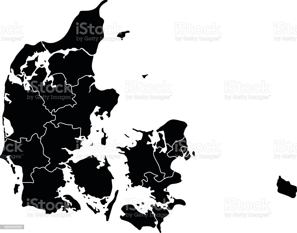Map of Denmark vector art illustration