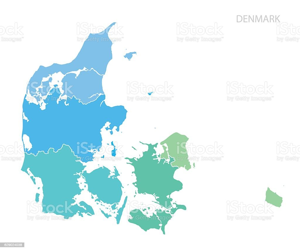 Map of Denmark. vector art illustration