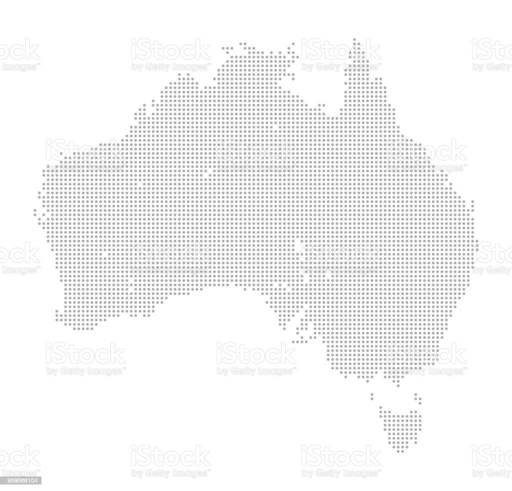 Map of Dots - Australia and Tasmania vector art illustration