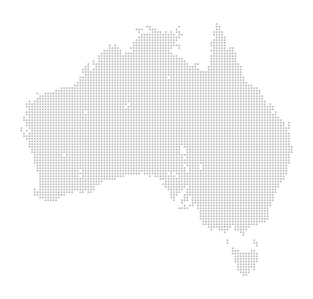 Map of Dots - Australia and Tasmania vector art illustration