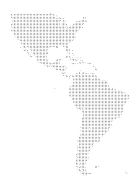 Map of Dots - North and South America This detailed map illustration using dots is an ideal design element for your project. Easy to color and customize if required, it can be scaled to any size without loss of quality. latin america stock illustrations