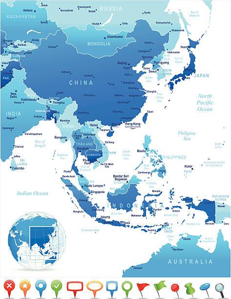 map of east アジアの国、都市、ナビゲーションアイコン - アジア地図点のイラスト素材/クリップアート素材/マンガ素材/アイコン素材