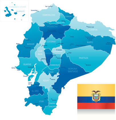 Map of Ecuador - states, cities and flag