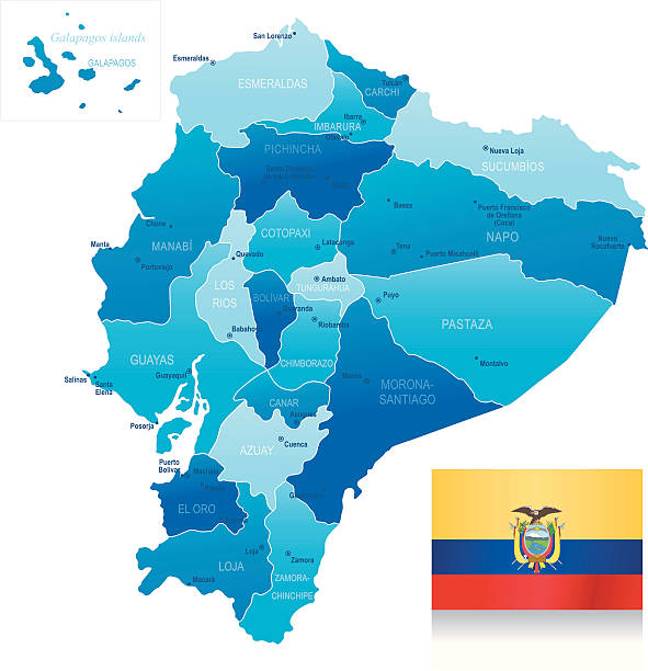 map of ecuador - states, cities and flag - ecuador flag stock illustrations