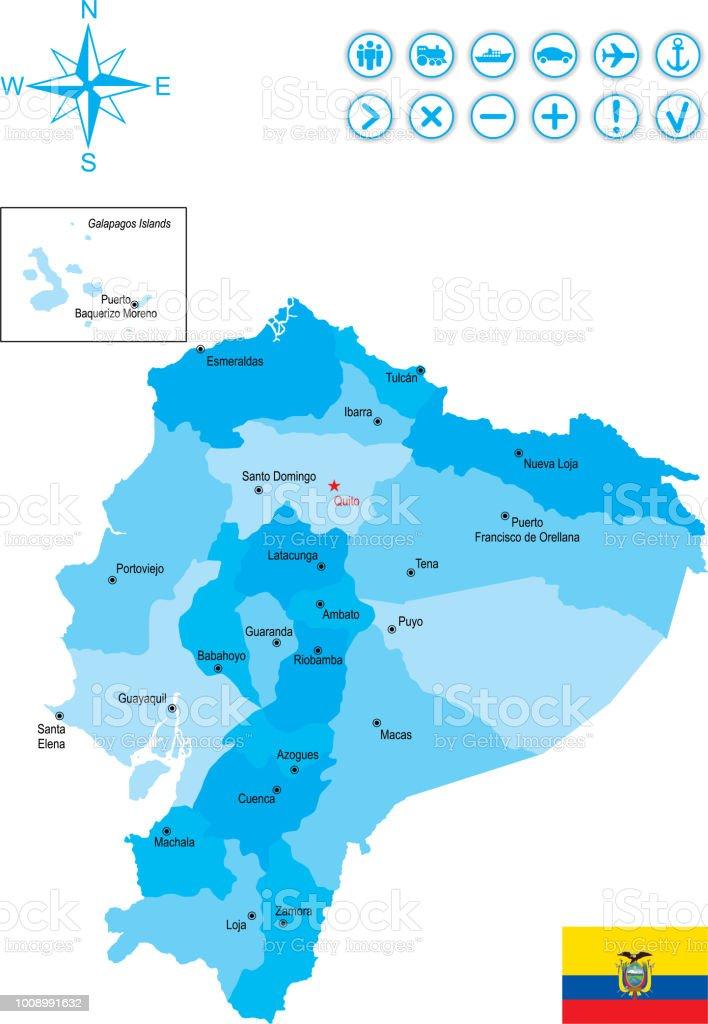 Mapa do Equador com bandeira, ícones e chave - ilustração de arte em vetor