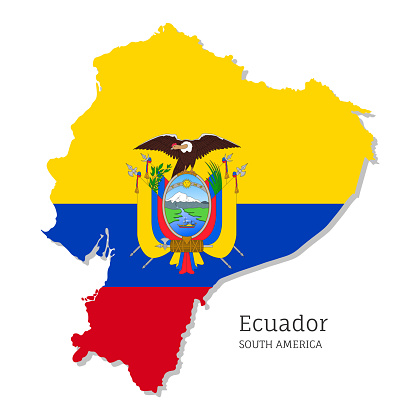 Map of Ecuador with national flag