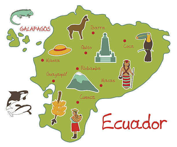 Map of Ecuador with typical features Vector illustration of map of Ecuador with typical features equator stock illustrations
