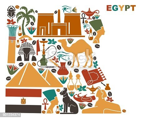 Map Of Egypt Made Of National Symbols Stock Vector Art More Images