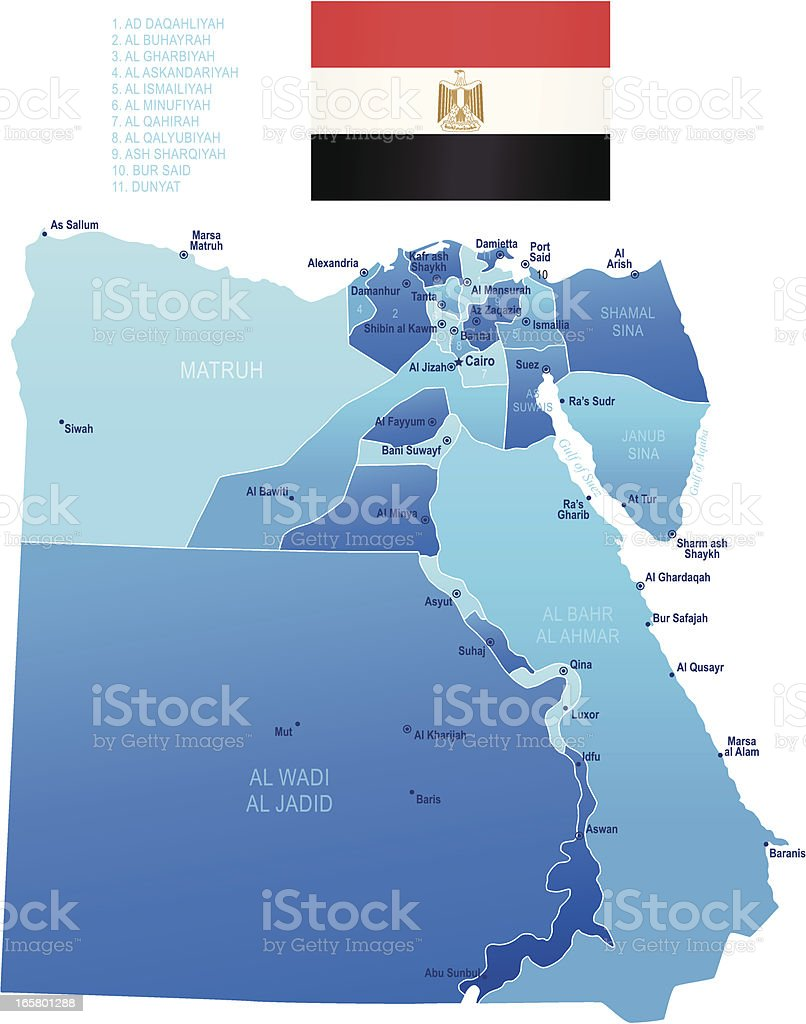 Map Of Egypt States Cities And Flag Stock Vector Art More Images