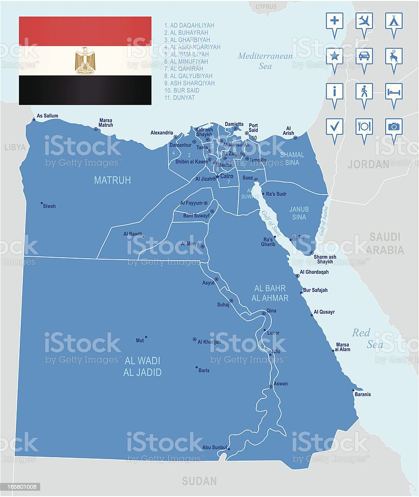 Map of Egypt - states, cities, flag and navigation icons