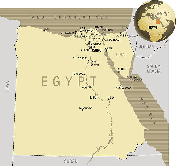 Egypt Map Clip Art Vector Images Illustrations IStock - Map of egypt vector