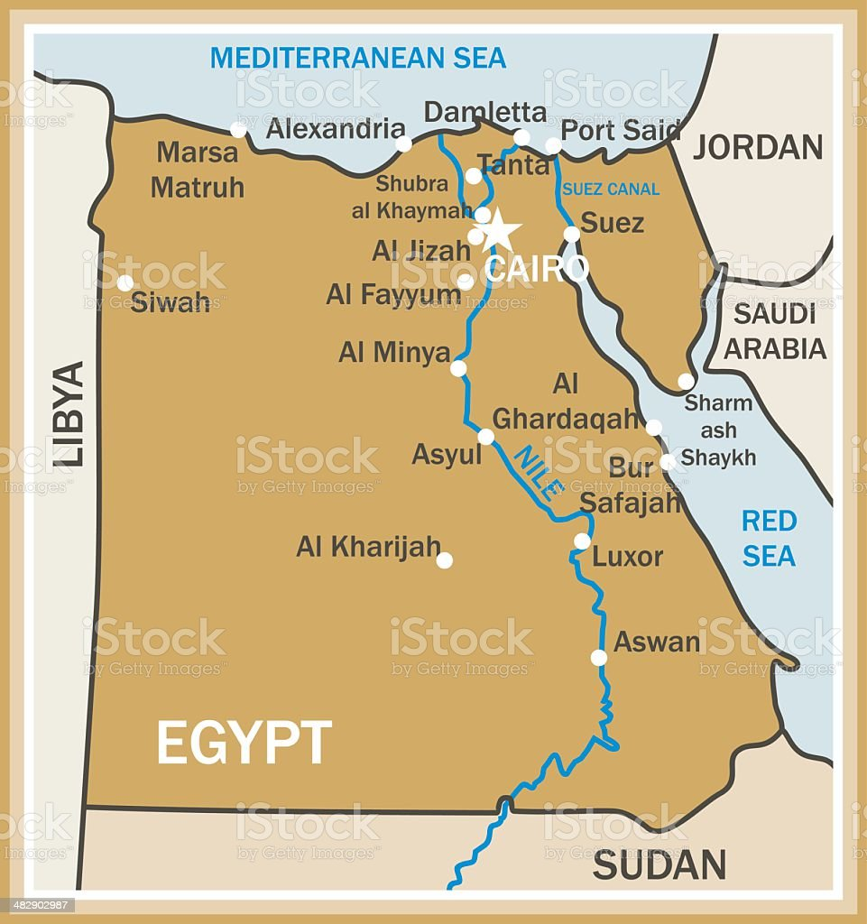 Canal De Suez Mapa.Map Of Egypt Stock Illustration Download Image Now Istock