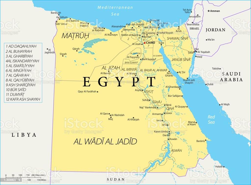 Karte Von Agypten Vektor Stock Vektor Art Und Mehr Bilder Von