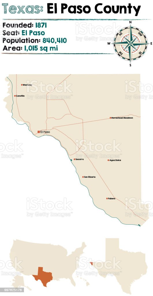 Map Of El Paso County In Texas Stock Vector Art More Images Of