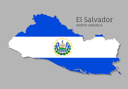 Map of El Salvador with national flag