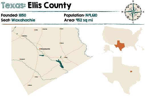 Map Of Texas 99.Map Of Ellis County In Texas Stock Illustration Download Image Now