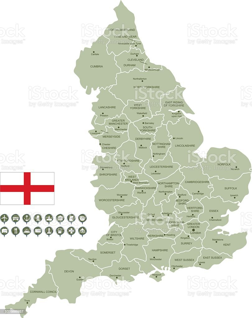 Map of England vector art illustration
