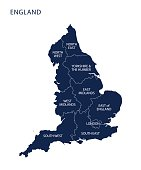 Map of England with counties UK