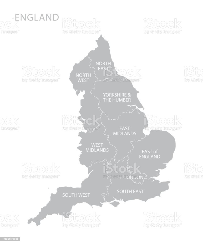 Map of England with counties UK vector art illustration