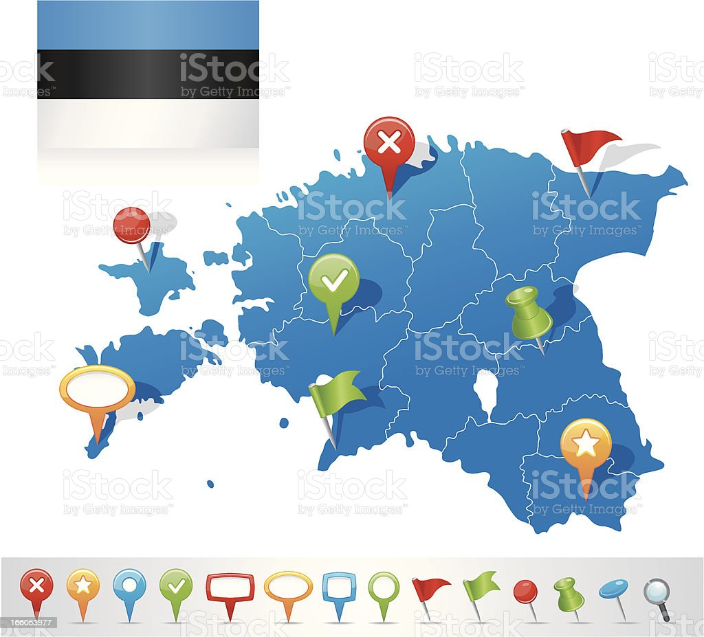 Map of Estonia with navigation icons royalty-free map of estonia with navigation icons stock vector art & more images of arrow symbol