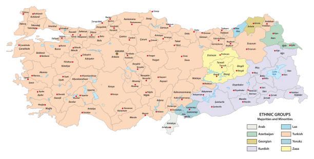 map of ethnic groups in the republic of turkey - turcja stock illustrations
