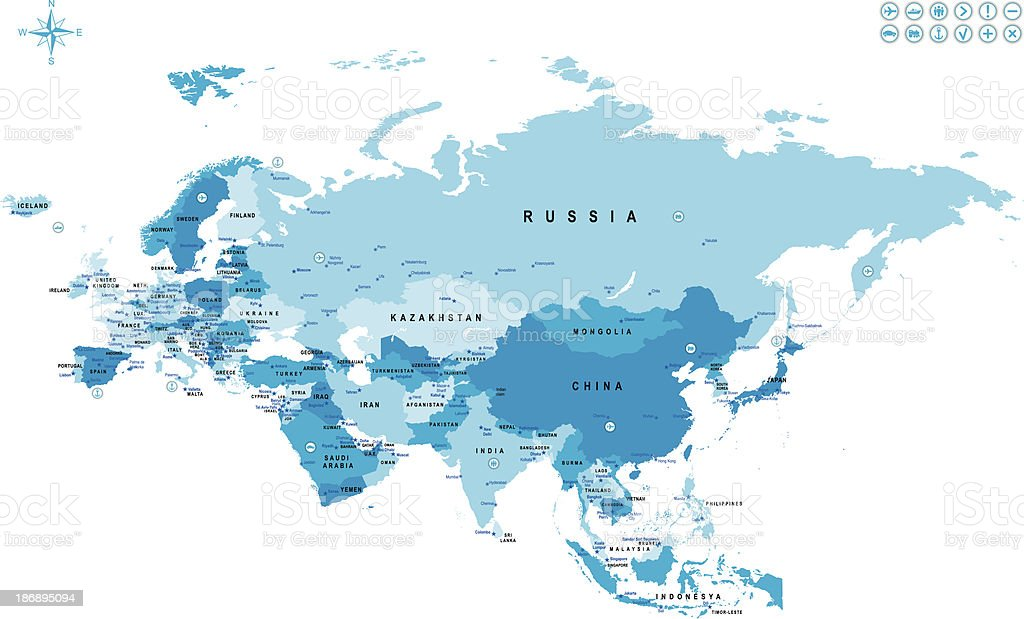 Map of Eurasia with countries and major cities marked vector art illustration