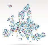 Map of Europe composed of technology icons
